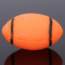 Dog Squeaky Toy For Pet Dog Chew Toy Small Rubber Squeaky Rugby Ball Orange Free Shipping0814