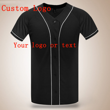 Summer blank Baseball T Shirt Short Sleeve Men V Neck DIY Custom Logo Baseball Style Jersey Hip Hop Men Plain Black T Shirts(China)