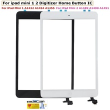 Original For ipad Mini 1 mini 2 Touch Screen Digitizer Glass With IC Chip Connector + Home Flex Cable Full Assembly + Tools Set