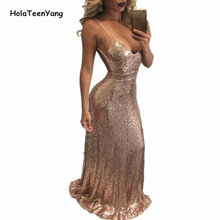 HolaTeenYang Black Gold Sexy Deep V Neck Backless Party Sequin Dress Evening Women Dresses Hot Nightclub Maxi Floor Length Dress