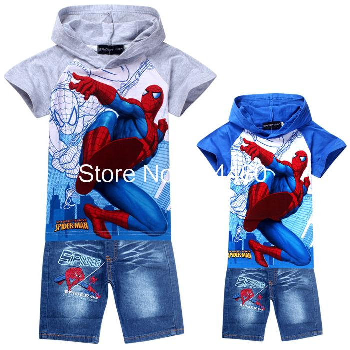 New 2017 cartoon baby hoodies jeans suit,spiderman children clothing sets,retail boys short sleeve t shirt pants Blue Gray<br><br>Aliexpress