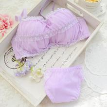 New 2017 Chiffon Lace Bra Set Thin Underwear Women Set Bra and Panty Sets For Yough Girls Transparent Cotton Lolita Lingerie