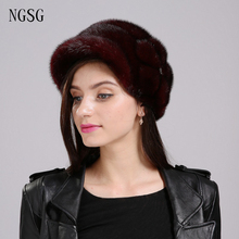 Women Fur Hat Real Mink Fur Material Hat Female Floral Pattern Type Fur Hat Skullies For Modern Office Worker Fashion EA4050-13
