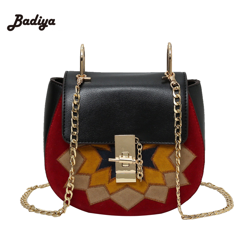 Patchwork Small Women Cross Body Bags High Quality Retro PU Leather Chains Lock Shoulder Bag Famous Brand Design Ladies Bags<br><br>Aliexpress