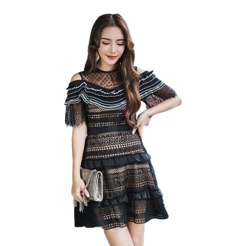 2018 Womens Summer Lace Dress Black Lace Striped Ruffles Mesh Patchwork Off  the Shoulder Short Sleeve 766fc3725772