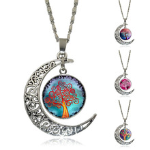 Wholesale Silver Half Moon Chain Necklace Life Tree Glass Cabochon Art Picture Pendant Necklace Vintage Statement Jewelry(China)