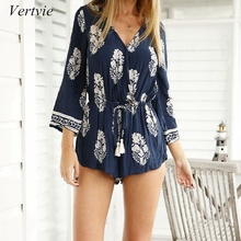 Buy vertvie 2018 Rompers Women Jumpsuit Short Overalls Bodysuit Summer Playsuit Vintage Print V Neck Sexy Female Flare Sleeve Suits for $7.25 in AliExpress store