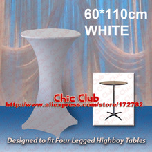 60*110cm White Stretch Cocktail Poseur Dry Bar Spandex Table Cover for 4 legs highboy tables Cloth Wedding Event Diameter