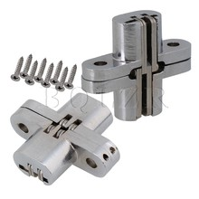 BQLZR 2 x Durable Hidden Cross Hinge Invisible Concealed Hinges Screws Included(China)