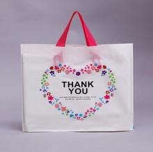 "50 Pcs White Loving Heart ""Thank you"" Thick Plastic Clothes Gift Packaging Bag with Handle, for Clothes Shoes Gift Shop"