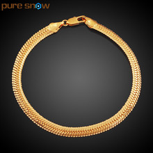 Pure Snow New Snake Bones Bracelet Jewelry 6cm Wide Gold Color Trendy Curb Chain Bracelet For Men Women Stainless Steel