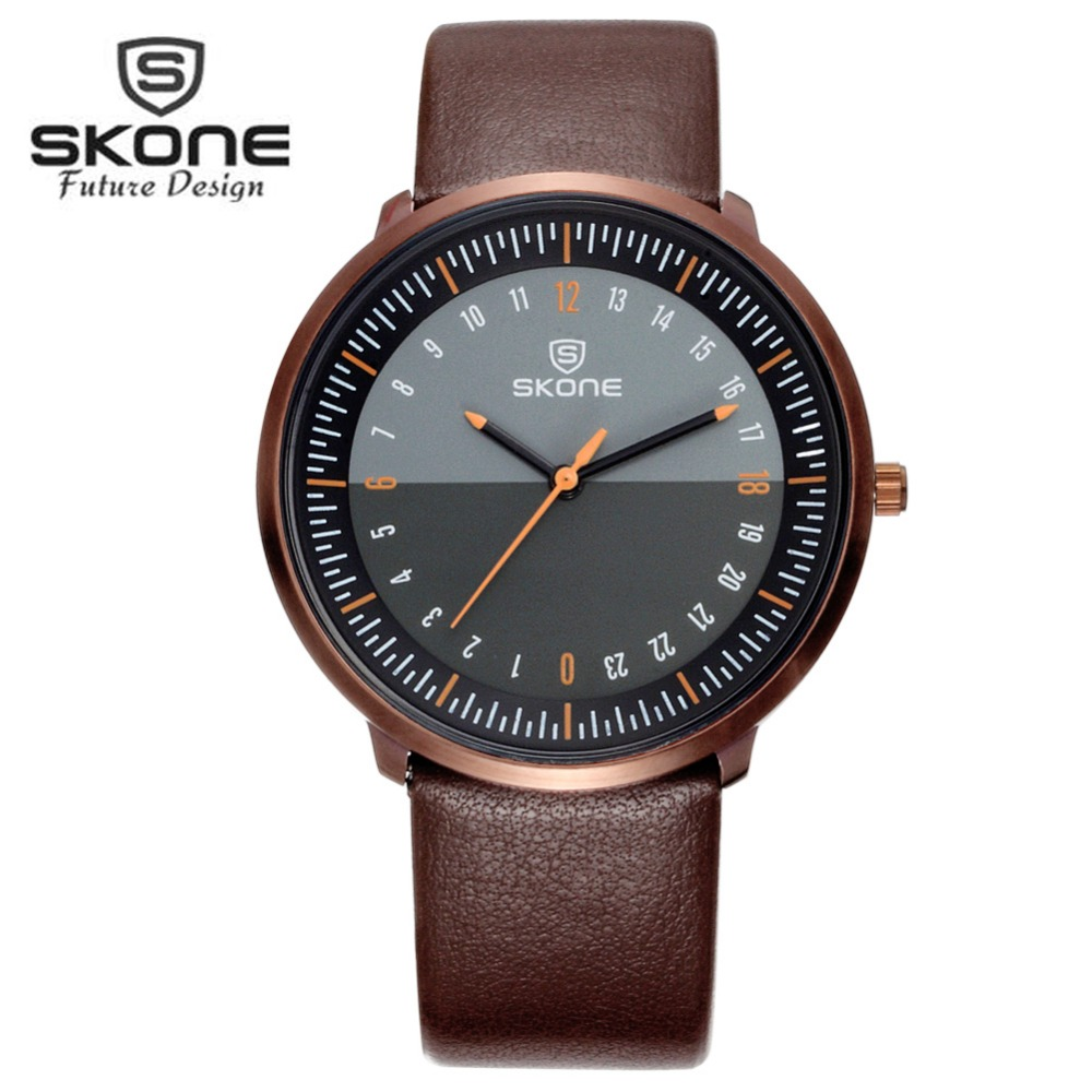 SKONE Famous Leather Ultra Thin Watch Men Retro Watches Brand Luxury Mens Quartz Watch Man Watches Clock Relogio Masculino XFCS<br><br>Aliexpress