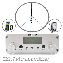 CZE-15A 15W stereo PLL FM transmitter broadcaster GP antenna power KIT(China)