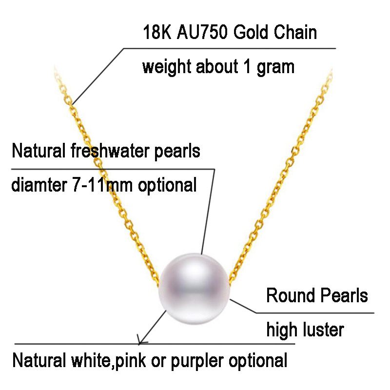18k AU750 Gold necklace lucky round pearls pendant choker for women girls Mum lover high luster pearls color diameter optional (13)