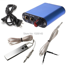 Professional Tattoo Kit Blue Mini Tattoo Power Supply&Plug Cable Stainles Foot Pedal Clip Cord Kit Free Shipping
