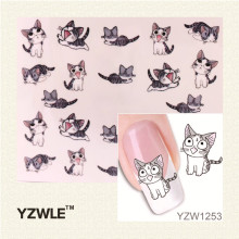 YZWLE 1 Sheet Nail Art Water Decals Transfers Sticker Pretty Black Cat Pattern