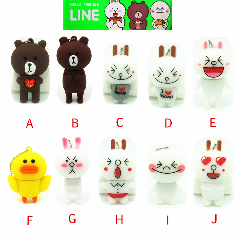 cartoon Line APP series USB Flash drive cute rabbit /bear pen drive 4gb 8gb 16gb 32gb animal Memory StickThumb drive usb ceativo(China)