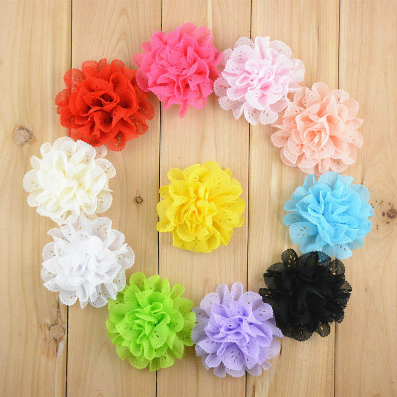 25pcs Freeshipping Baby Kids 3Inch Flowers Eyelet chiffon hole lace flower no clips headband flower DIY Photography props<br><br>Aliexpress