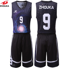New Universe Pattern Basketball Clothing Wear Men's Mesh Breathable Good Quality Basketball Kits Sublimation Customized