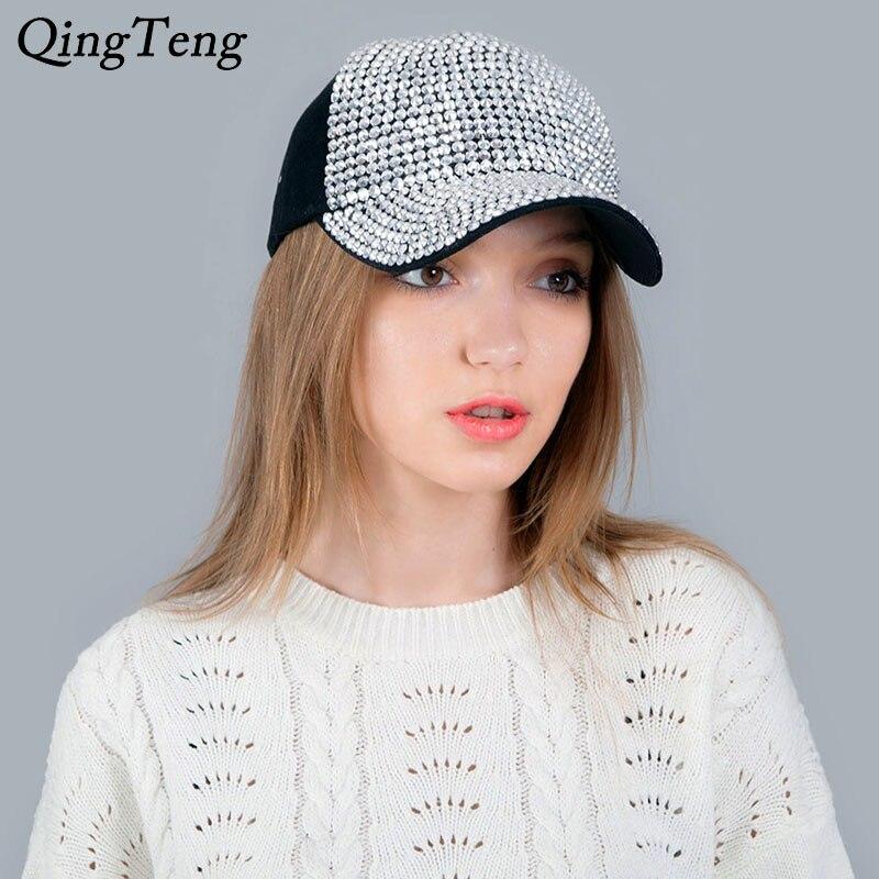 2019 New Spring Summer Denim Baseball Cap Women Worn Snapback Hat for Girls Gorras Rivet Pearl Hip Hop Cap