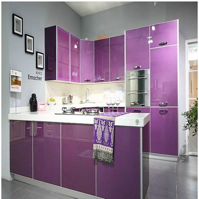 Logful house decor store small orders online store hot for Purple kitchen wallpaper