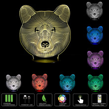 Smart 3D Function LED Night Lights with Brown Bear Pattern Table Lamp for Babys & Kids Gifts USB 3D LED Light(China)