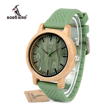 BOBO BIRD WB06 New Fashion 2017 Bamboo Wood Watches with Soft Green Silicone Straps Japan Quartz Movement 2035 Watch in Boxes