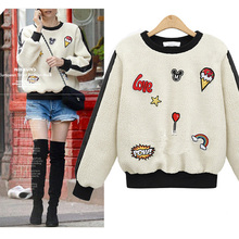 New 2016 Autumn Winter Fashion Women Sweatshirt Lamb Wool Cartoons O-Neck Long-Sleeve Pullover Hoodies