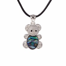 my shape Paved Clear Crystal Beautiful Teddy Bear Abalone Shell Pendant Necklace Vintage Style Women Jewelry
