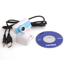 USB Clip 50.0 Mega Pixel Webcam Web Cam Camera with MIC Blue White for PC Laptop