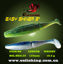 "Fishing lure soft fish decoys Easy shiner 5"" 4pcs 12.5cm/18.5g Esfishing soft lure bass pike lure Green Yellow White Trolls(China)"