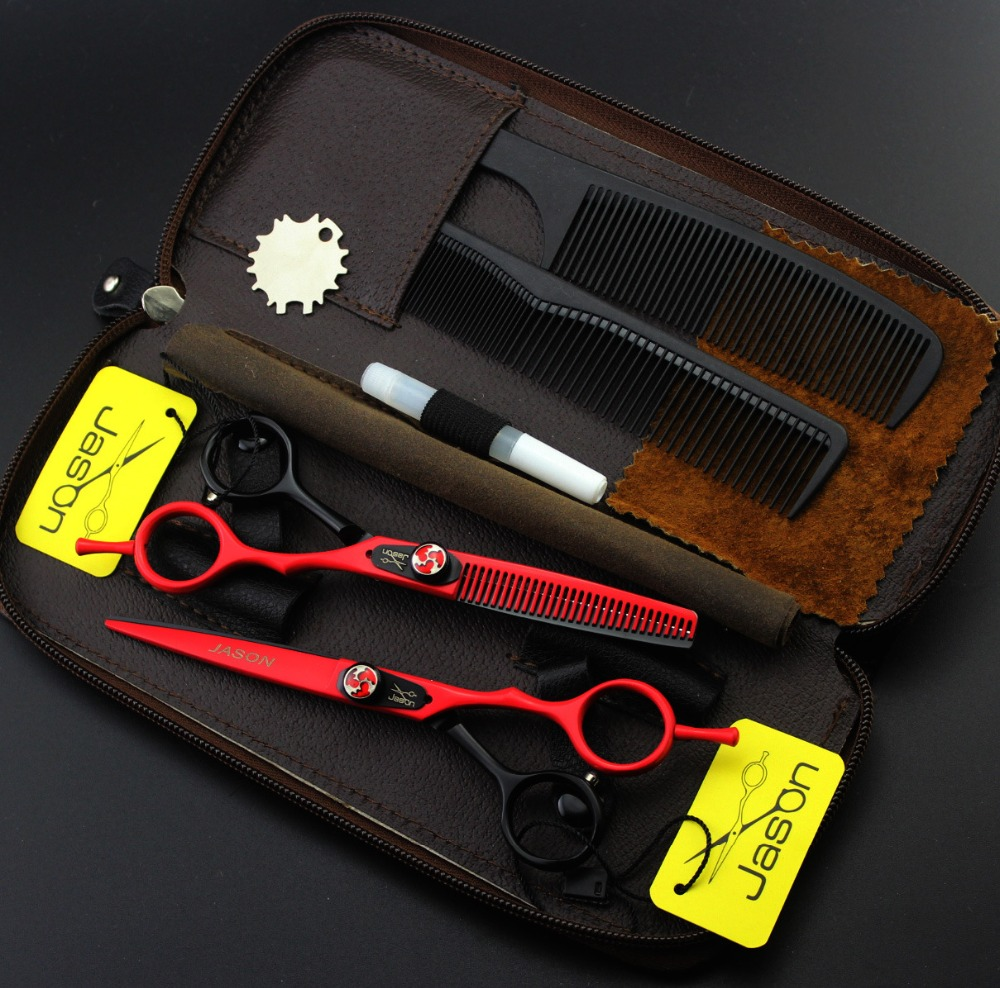 Jason 5.5 inch Hot Professional Hair Scissors Set Hairdressing Scissors Barber Kit Japanese Hair Cutting Scissors Shears Tesoura<br>