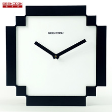 Black & White Pixel Mosaics Style Wall Clock Mute Sweep the stopwatch Wooden Wall Clock Factory Direct Living /Bedroom /Office(China)