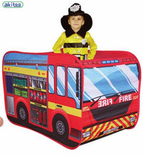 New arrival akitoo Children's Tent Super Car Toy House Indoor Outdoor Game House kid tent school bus and fire tent gift