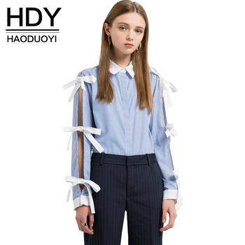 HDY Haoduoyi 2017 Fashion Chic Bow Tops Women Long Sleeve Female Loose Shirts Sweet Striped Turn-down Collar Ladies Blouses