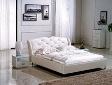 diamond button tufted contemporary genuine leather bed modern bedroom furniture made in China