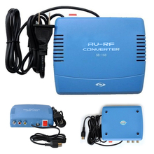 Blue RF Modulator AV-RF AV-TV Converter RCA Ant Input To F Type Coax Output DVD for AV RF Converter Radio Equipment