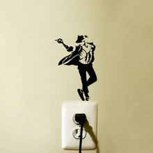 Michael Jackson Moonwalk Fashion Wall Sticker Home Bedroom Switch Decal 6SS0058(China)
