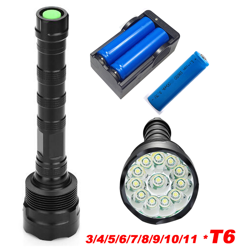 High Power Cree 11*XML T6 LED 50000 lumens Outdoor lighting waterproof flashlight,lantern,camping, Hunting with 3*18650 battery<br>