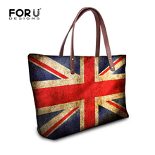 FORUDESIGNS Fashion UK USA Canada Flags Print Women's Top-Handle Bag Large Handbag Luxury Ladies Single Totes Bag Bolsa Feminina