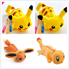 Novelty 4Designs Plush Pikachu BAG - 23CM Approx. Plush Stuffed Toy of Coin Pencil BAG Plush Toy Doll BAG(China)