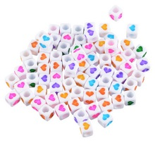 Random Mixed White Heart Cube Acrylic Beads 6x6mm 280PCs Square-shape Beads For Accessories Jewelry Findings Factory price