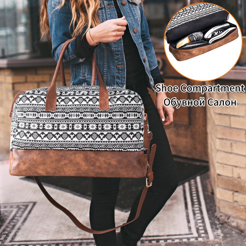 Mealivos 2018 Fashion Canvas Large Weekender Bag Overnight Travel bag Carry On Duffel with Shoe Pouch Duffel weekend Bags title=