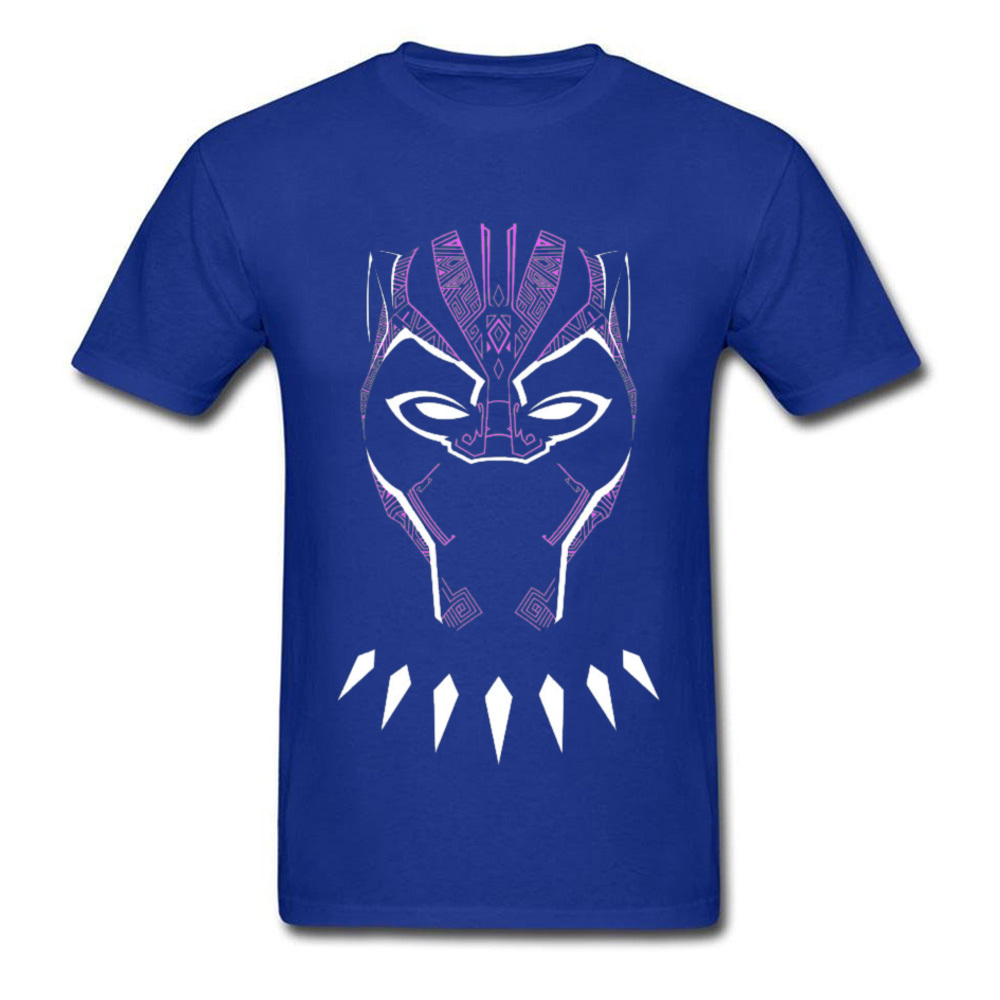 2018 New Fashion Mens Top T-shirts O Neck Short Sleeve Pure Cotton Black Panther Glowing Mask Tops Shirt Funny Tee Shirt Black Panther Glowing Mask blue