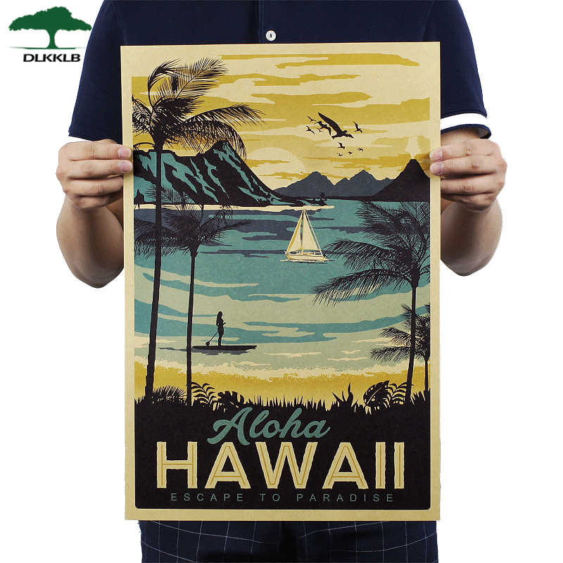 DLKKLB Aloha Hawaii Famous Tourist Landscape Painting Kraft Paper Bar Poster Vintage Decorative Painting 51x34cm Wall Sticker