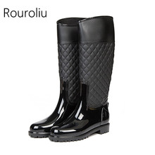 Rouroliu Women Fashion Patchwork Rain Boots Knee-high Non-slip Female Rainboots Waterproof Water Shoes Woman Wellies ZJ58(China)