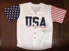 NEW Donald Trump #45 USA Baseball Jersey Commemorative Edition Stitched Sewn White(China)