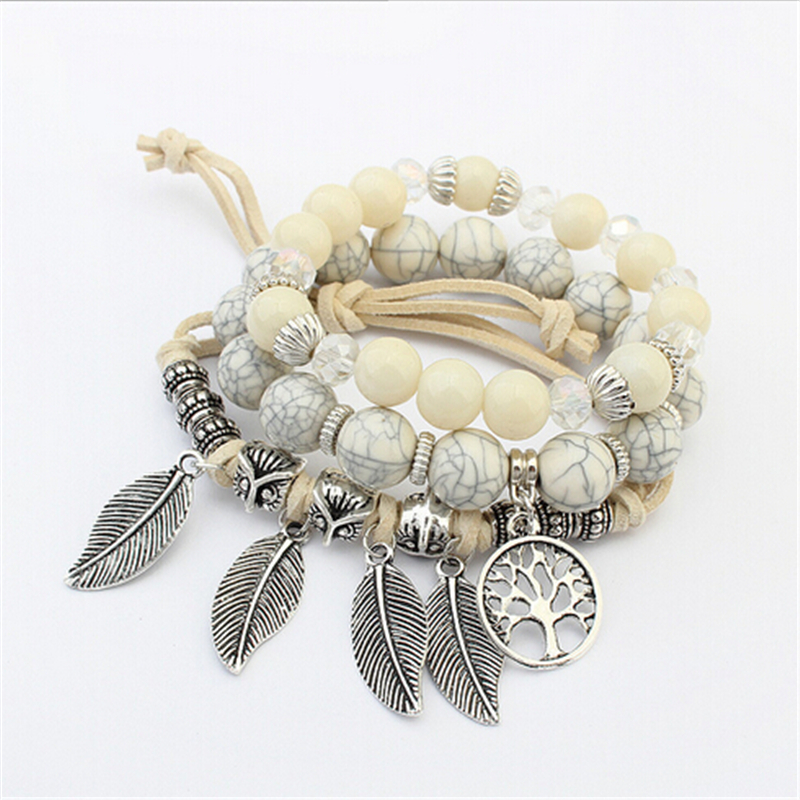 Woman Boho Multilayer Beads Charm Bracelets Women Vintage Stone Beads Leaves Bracelets & Bangles Pulseras Ethnic Jewelry