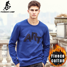 Pioneer Camp Autumn Winter thick fleece hoodies men brand clothing top quality New 100% cotton male Casual Sweatshirt 677081