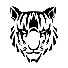 11cm*12.8cm Tribal Tattoo Tiger Head Personality Vinyl Car Sticker Car-Styling Black/Silver S3-5257(China)